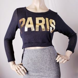 """Cleo Black & Gold """"Paris"""" High Low Cropped Blouse"""